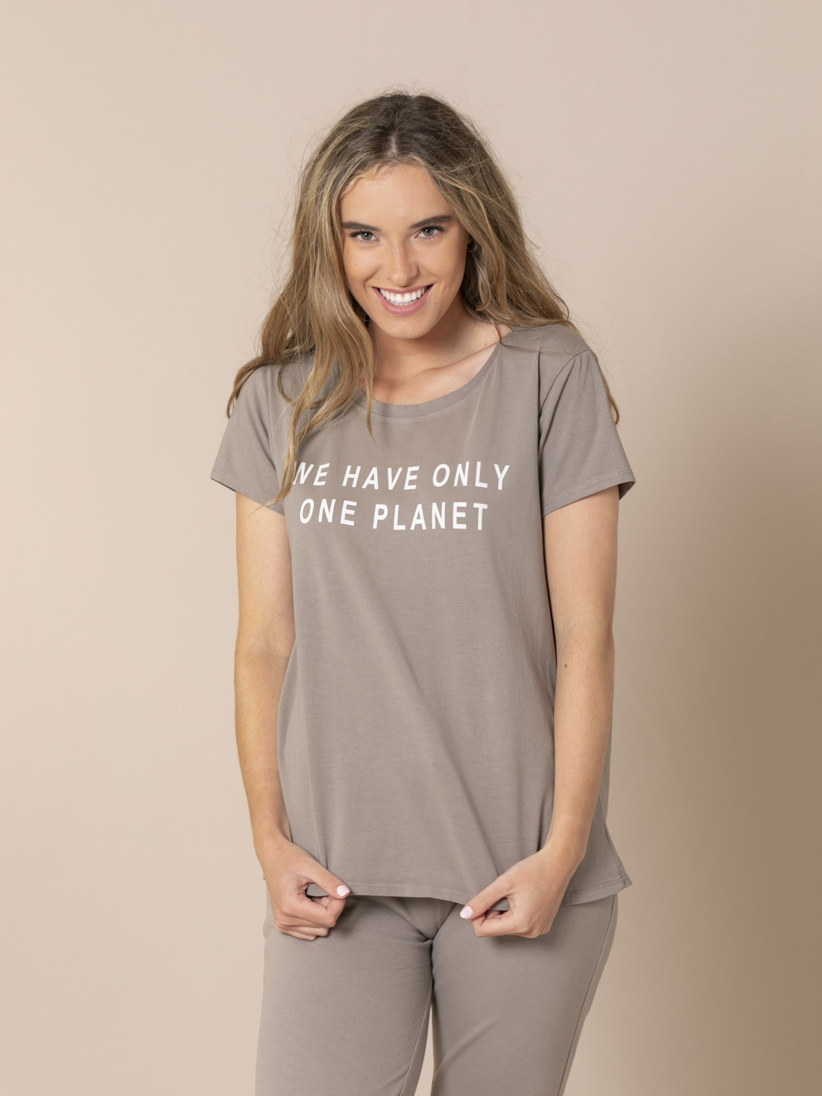 Camiseta mujer mensaje ecofriendly Gris