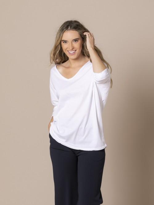 Woman Cotton V-neck T-shirt White