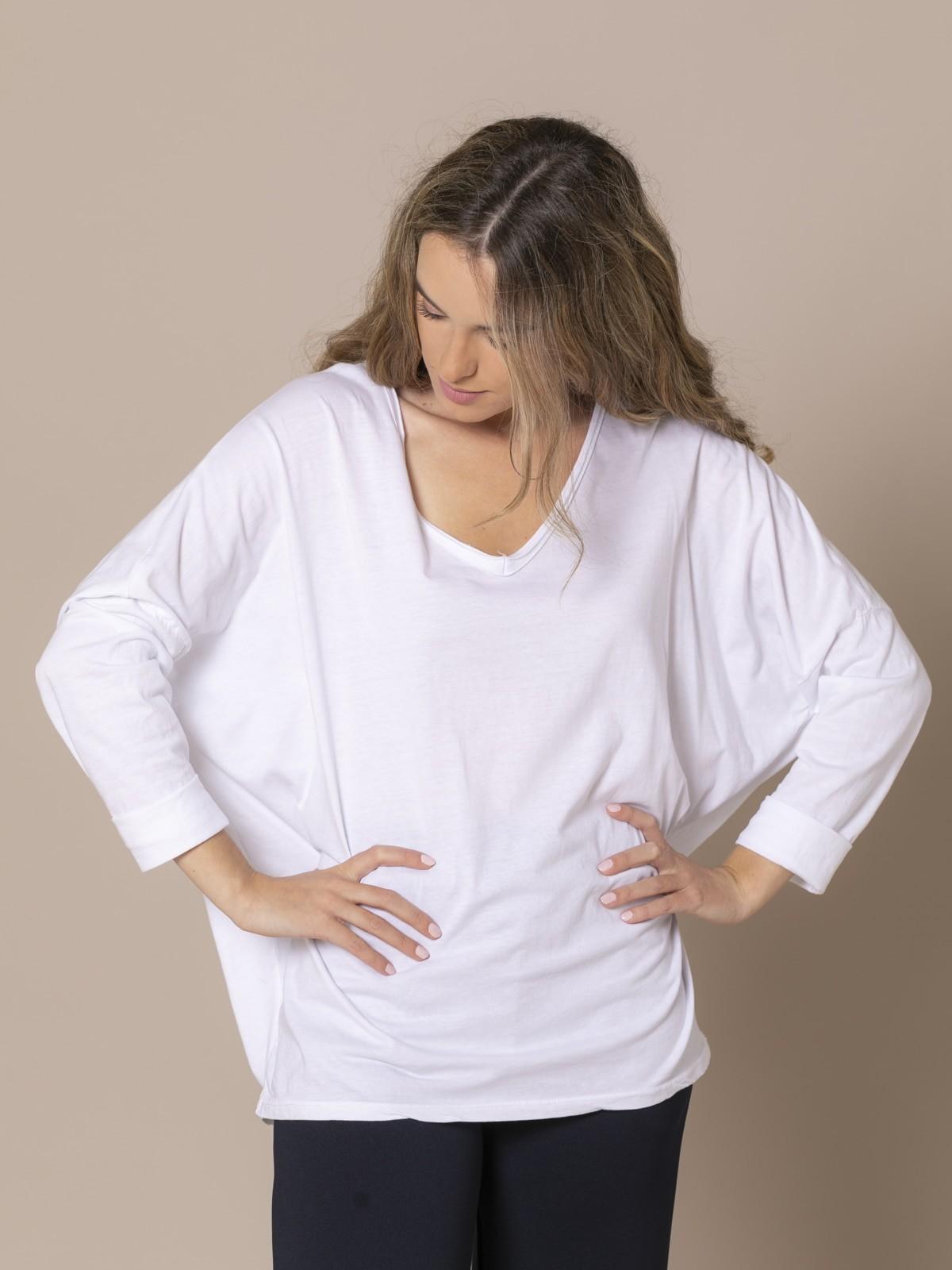 Camiseta mujer cuello pico algodón 100% Blanco