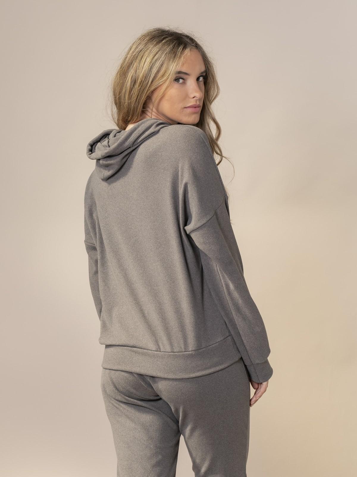 Woman Basic fleece sweatshirt Grey