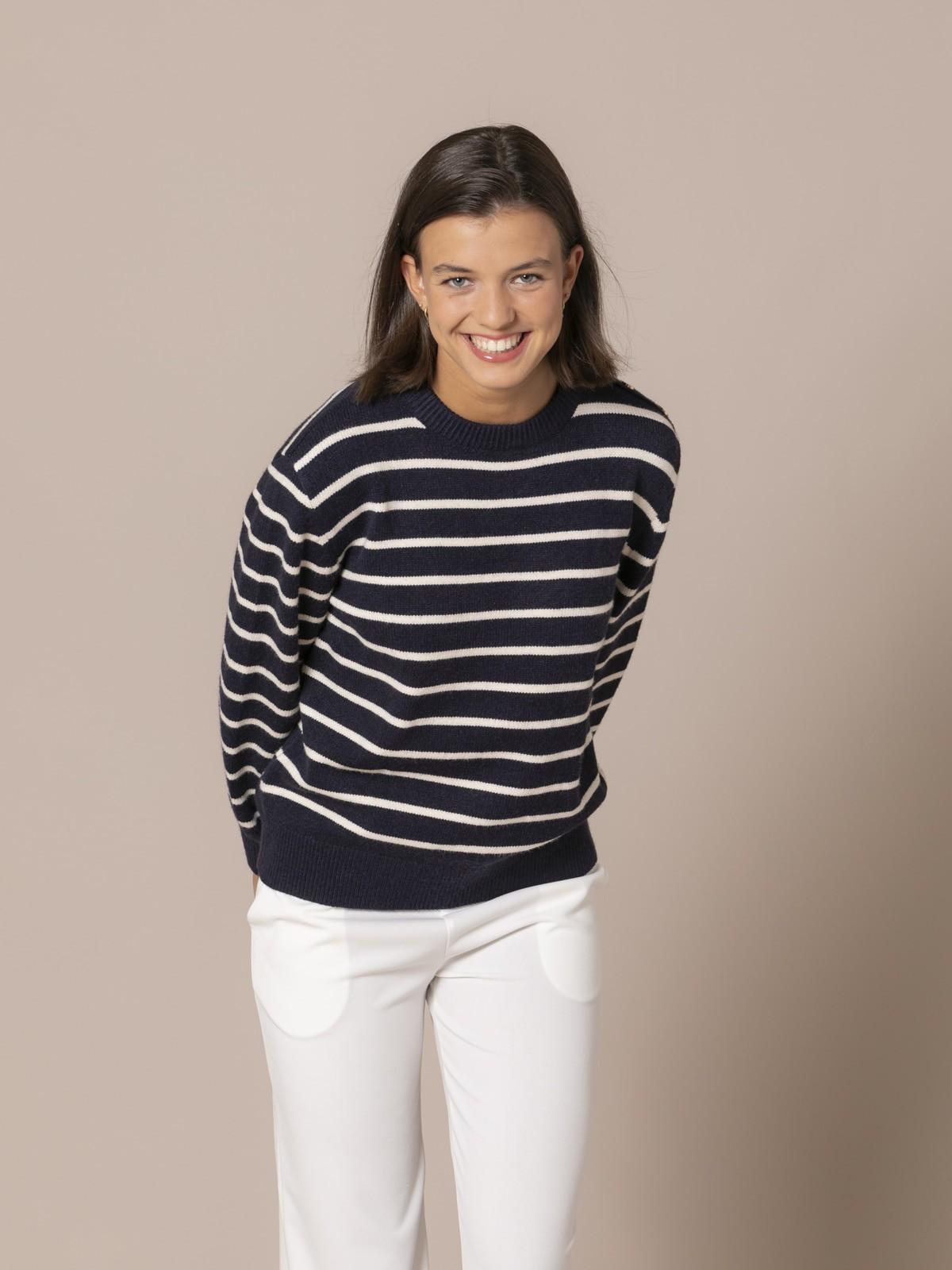 Woman Striped round neck sweater Blue Navy
