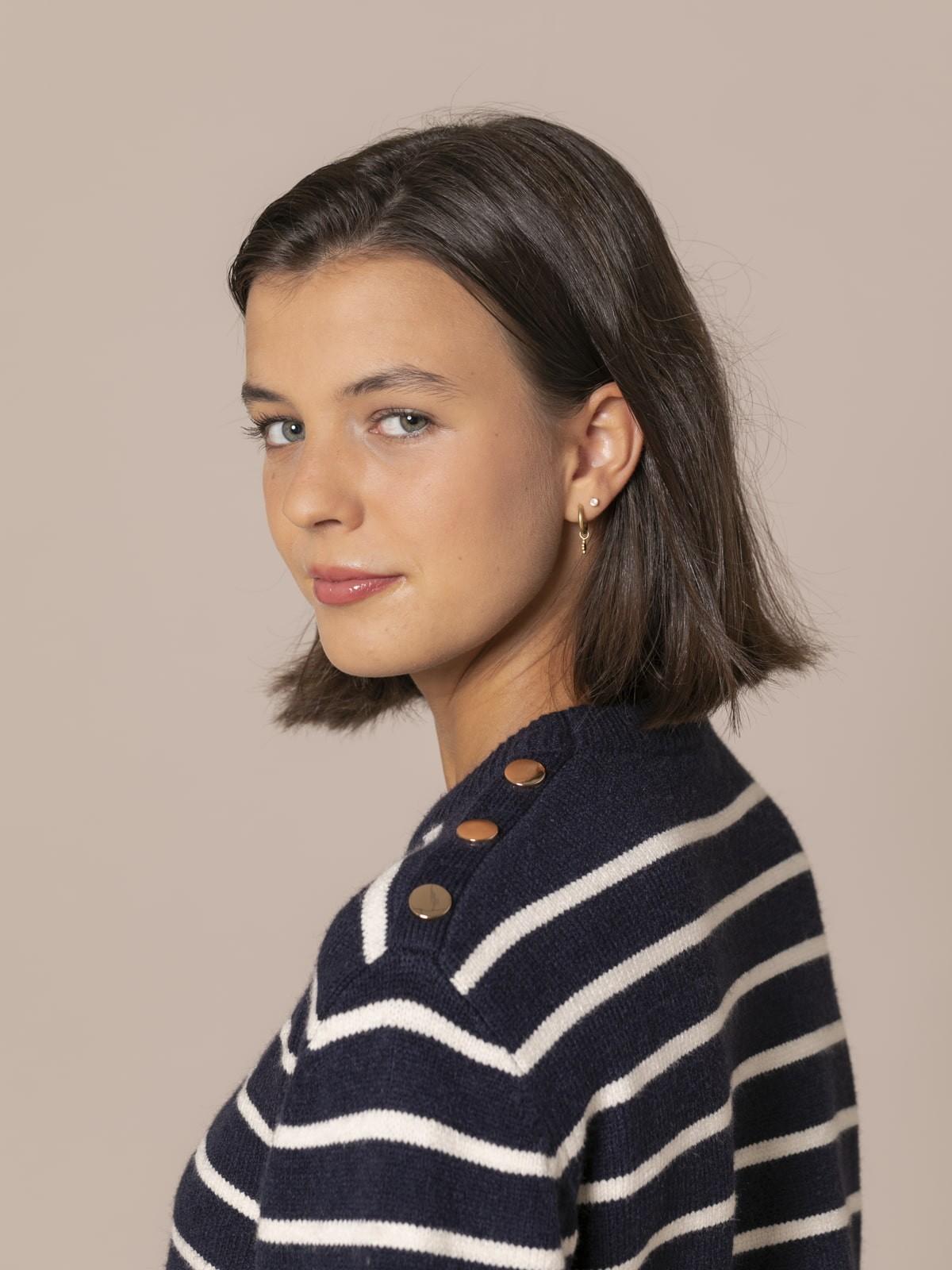 Jersey mujer cuello redondo rayas Azul Marino
