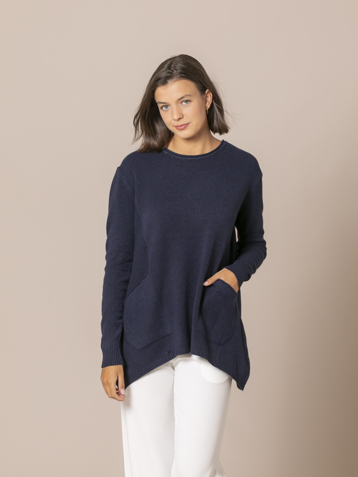 Jersey mujer punto oversize Azul Marino