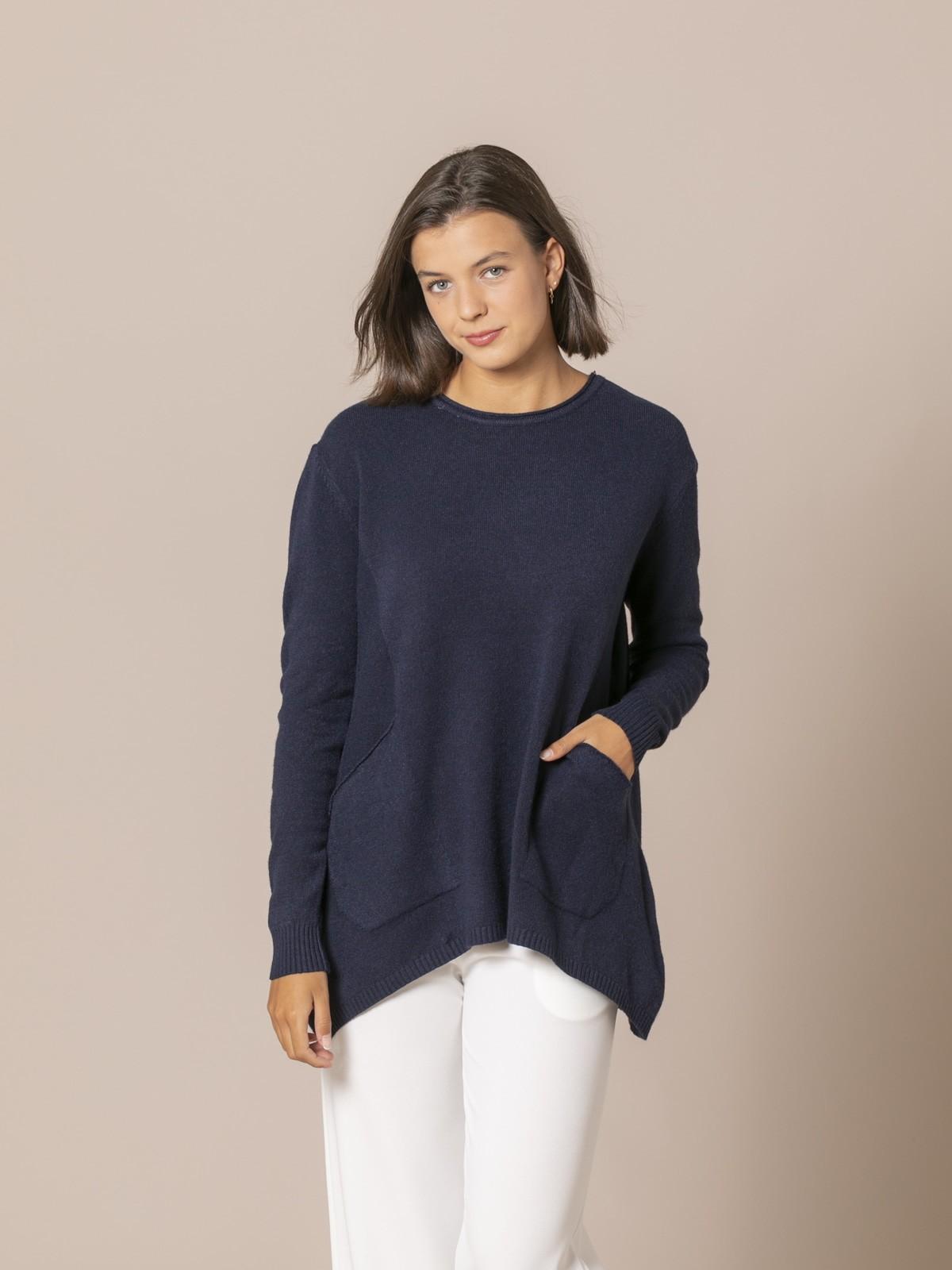 Woman Oversize knit sweater Blue Navy