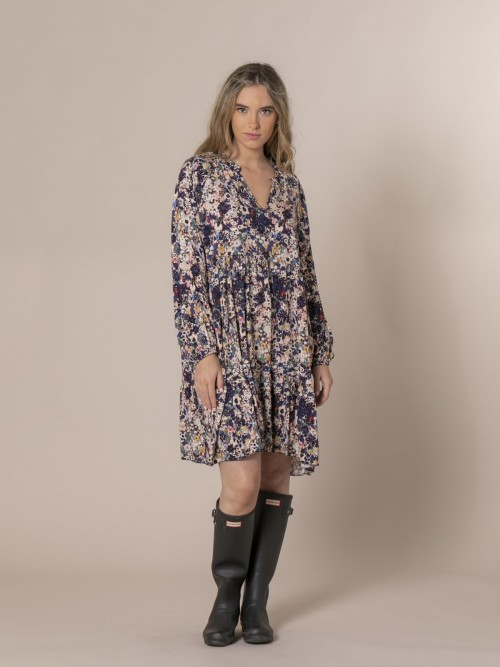Woman Floral print midi dress Blue
