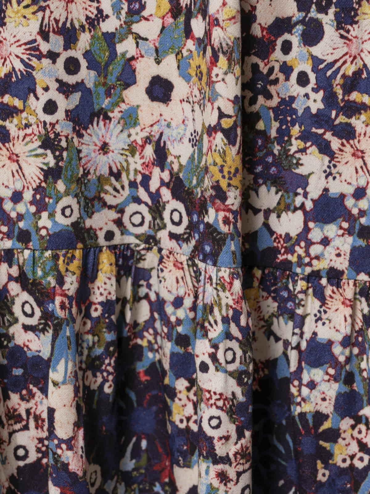 Vestido midi estampado flores Azul