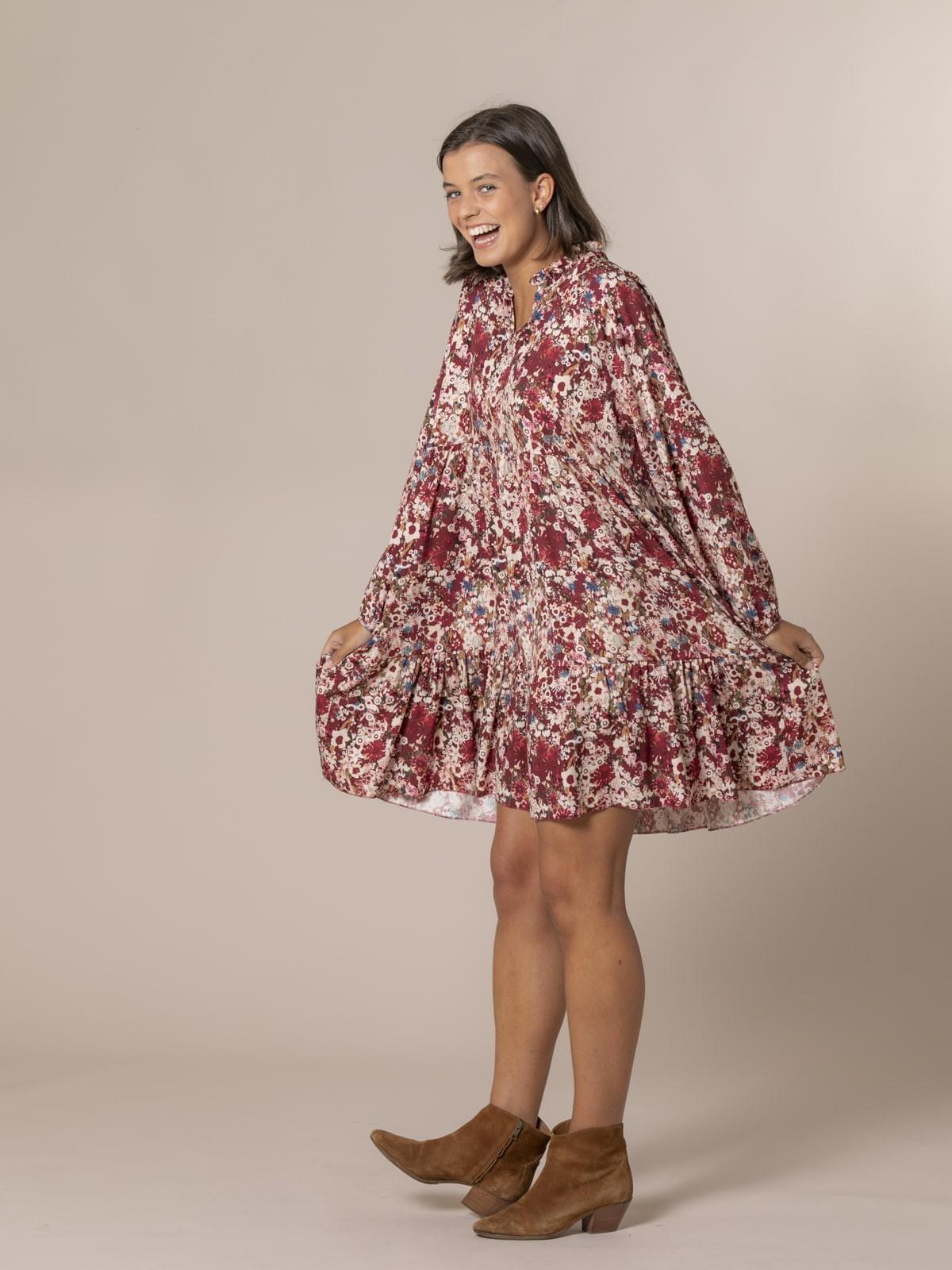 Woman Floral print midi dress Granate