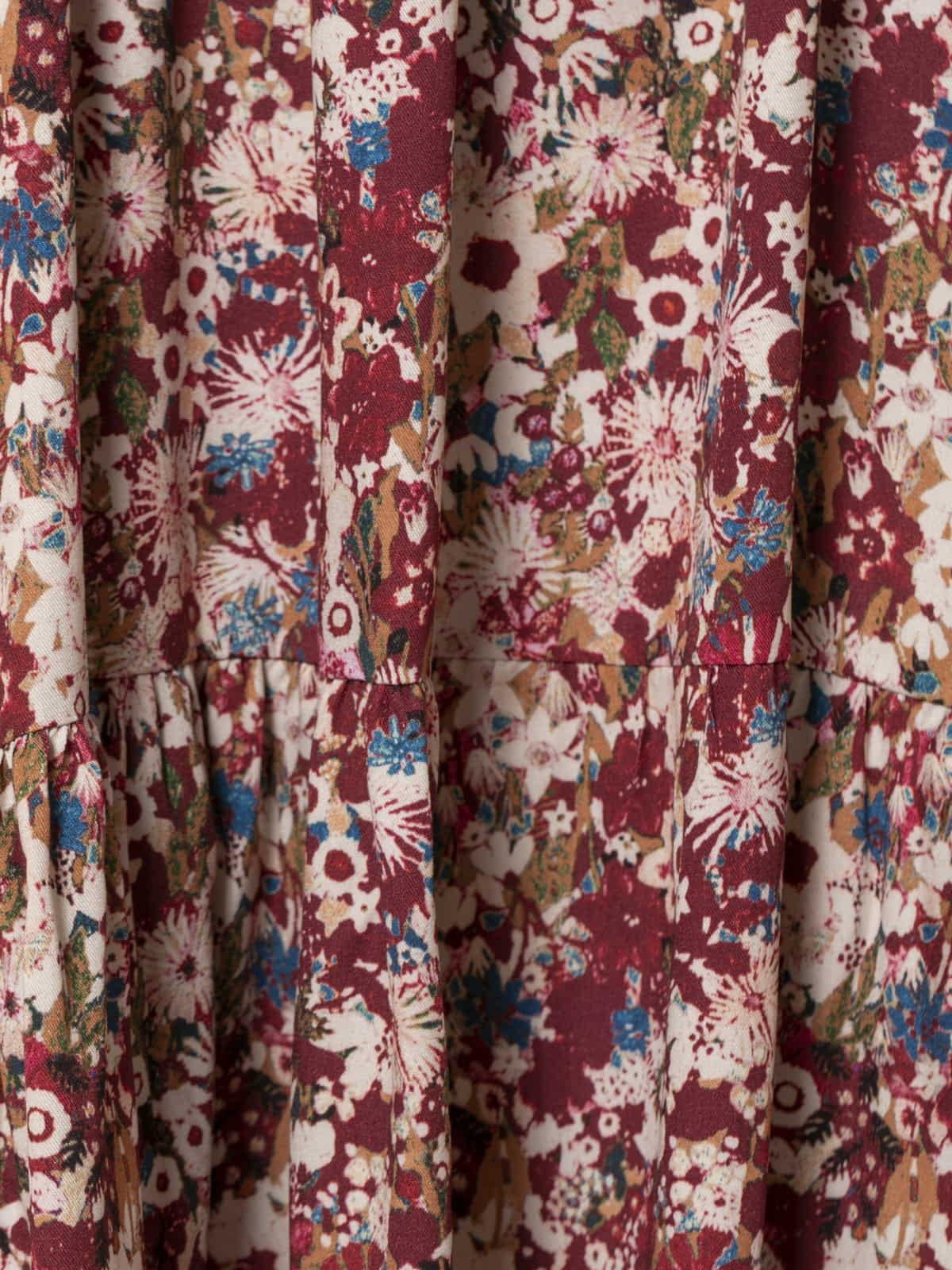 Vestido midi estampado flores Granate