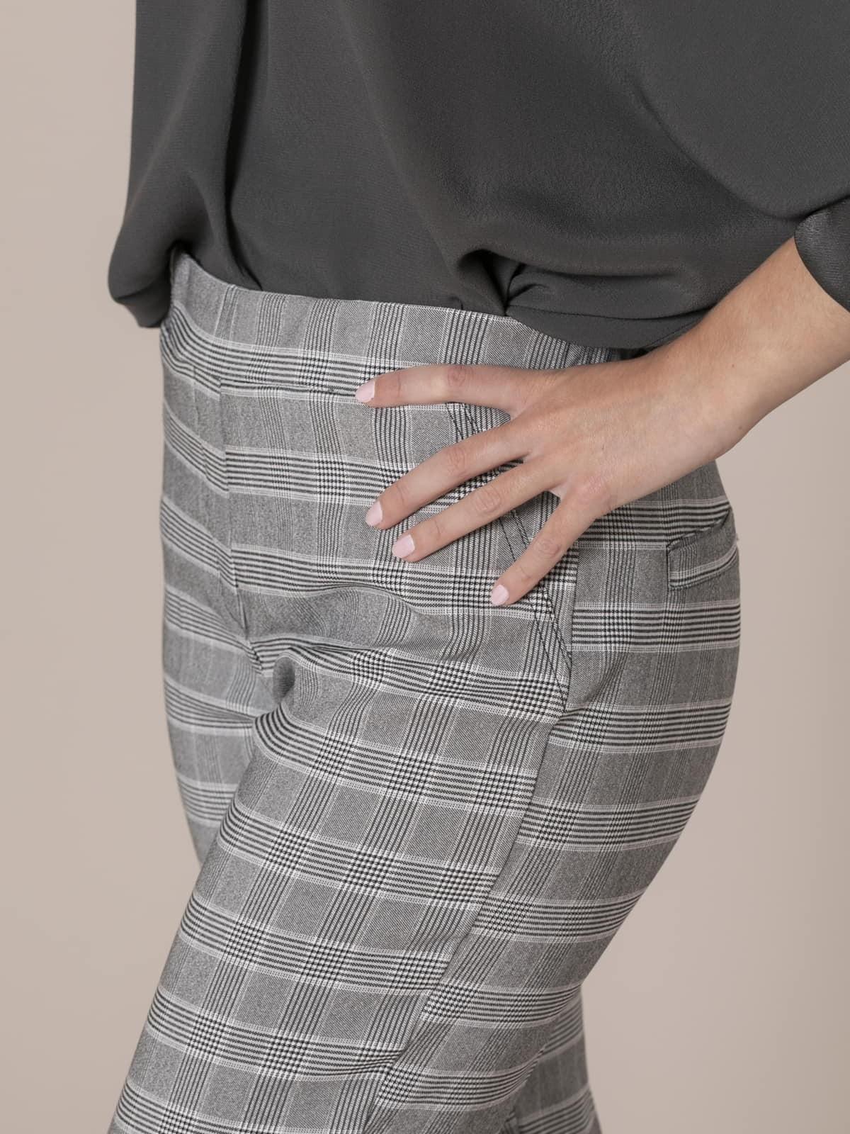 Pantalón mujer cuadro harry Gris