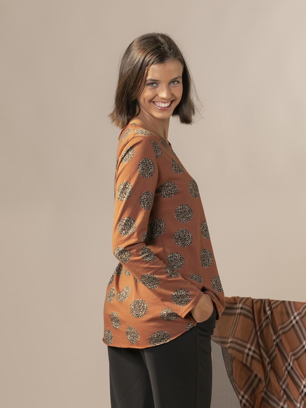Camiseta mujer animal print fantastic Teja