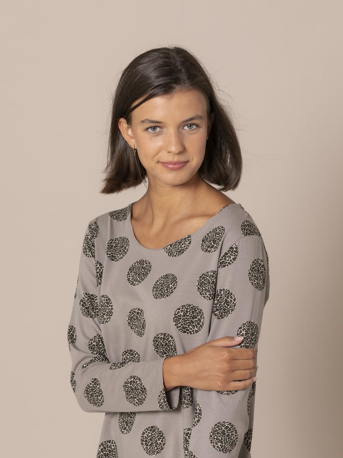 Woman Fantastic animal print t-shirt Stone