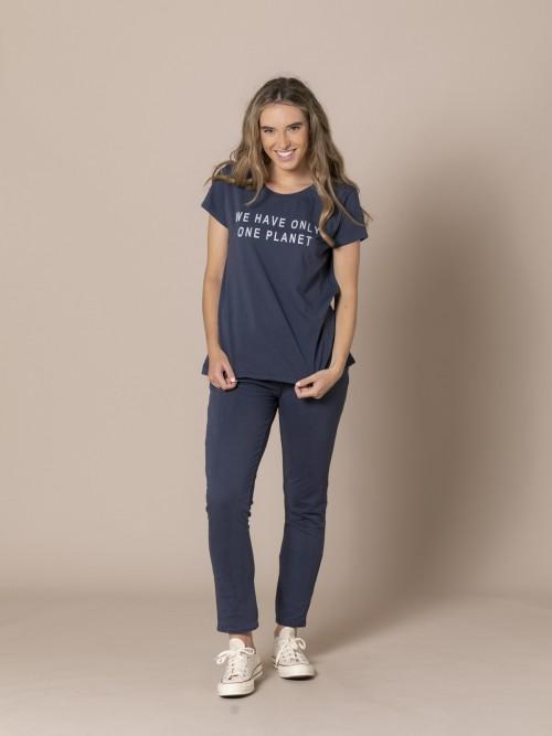 Woman Ecofriendly message T-shirt Blue Navy