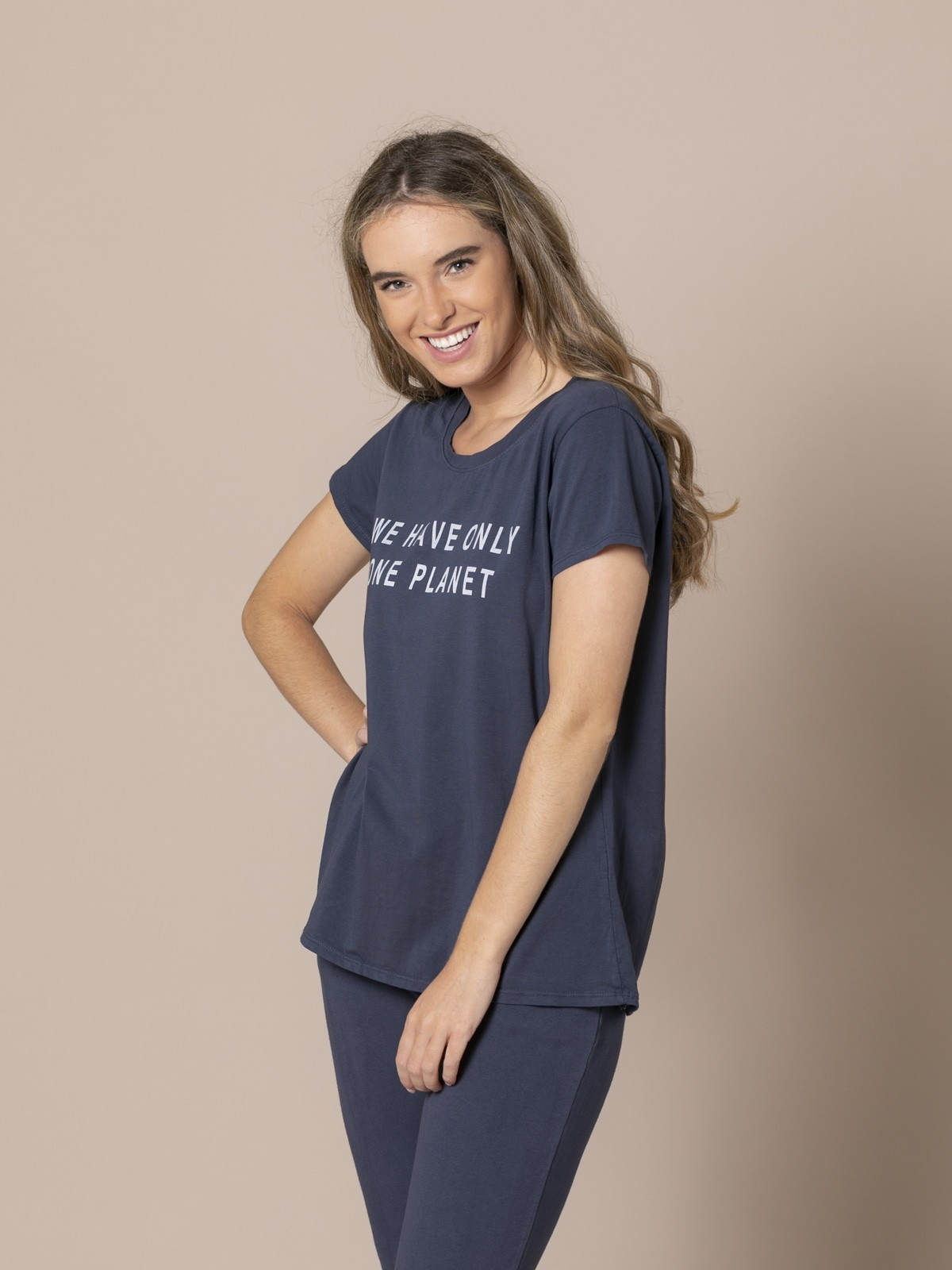 Woman ONE PLANET message T-shirt Blue Navy