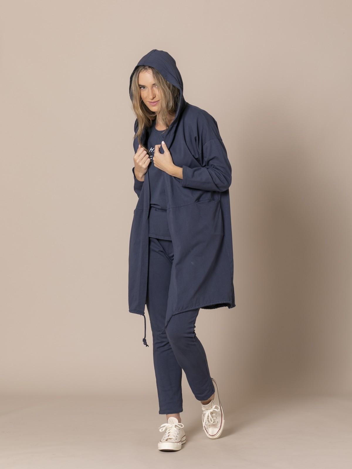 Woman Long casual jacket Blue Navy