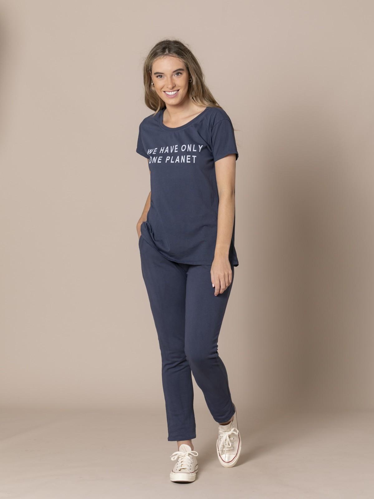 Woman Plush cotton trousers Blue Navy