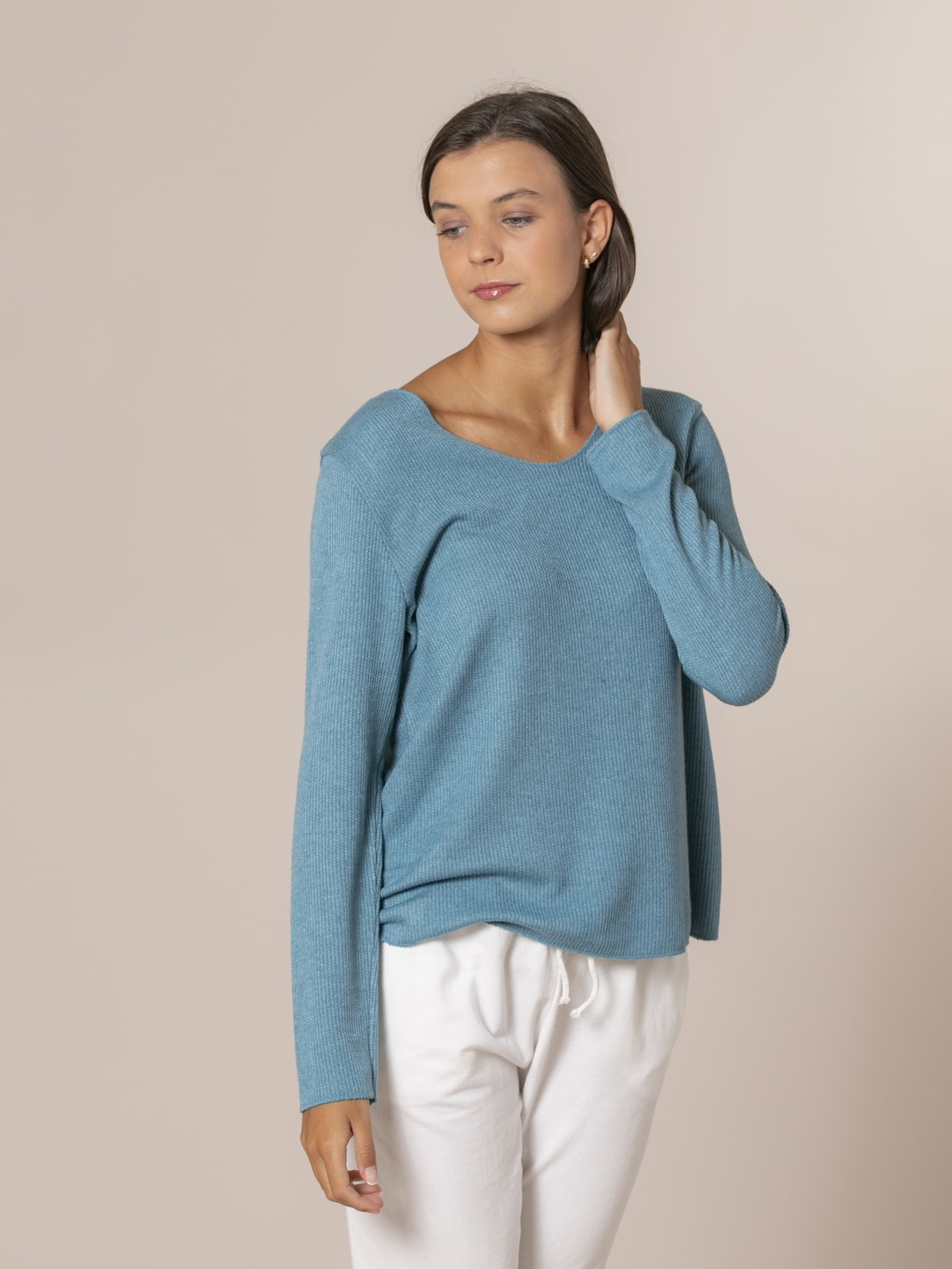 Woman Rustic fine knit sweater Green