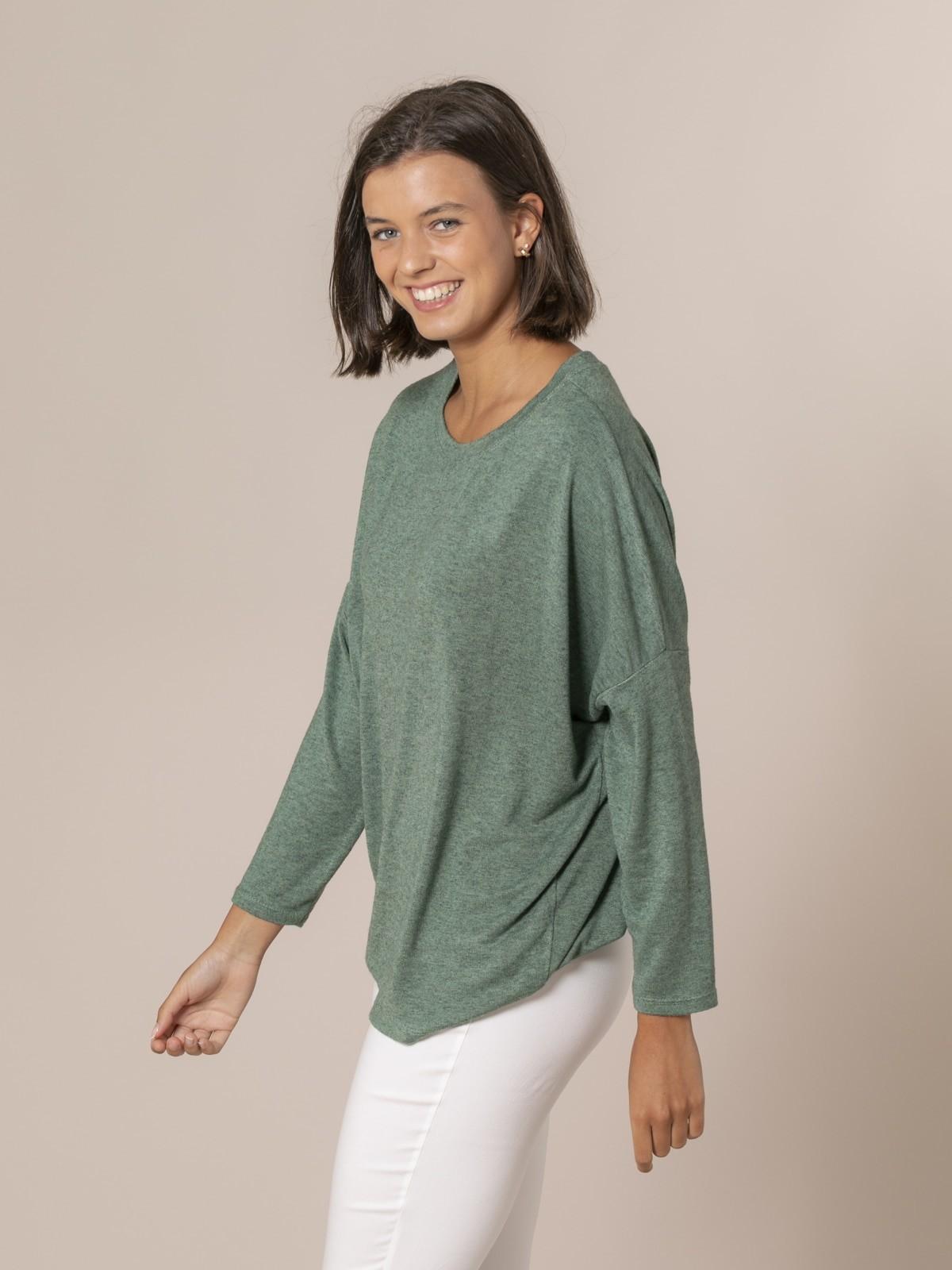 Woman Oversized boat neck sweater Green