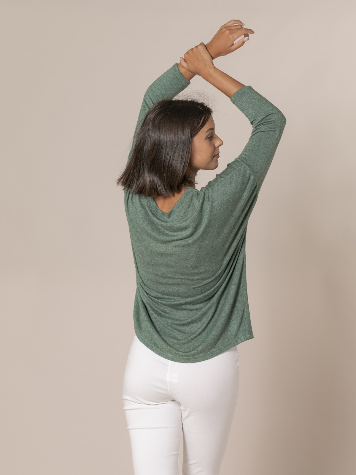 Jersey mujer oversize cuello barco Verde