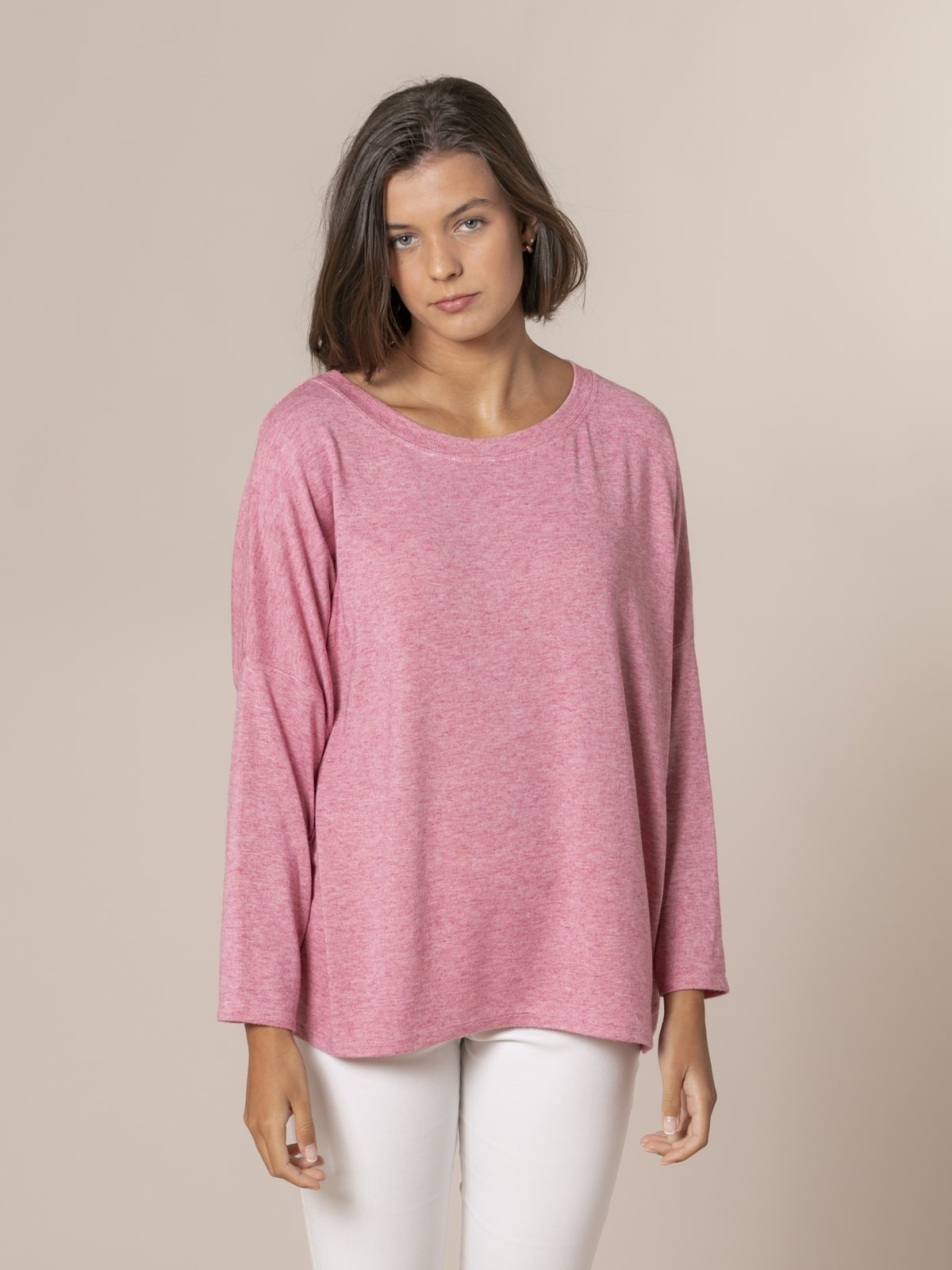 Jersey mujer oversize cuello barco Rosa