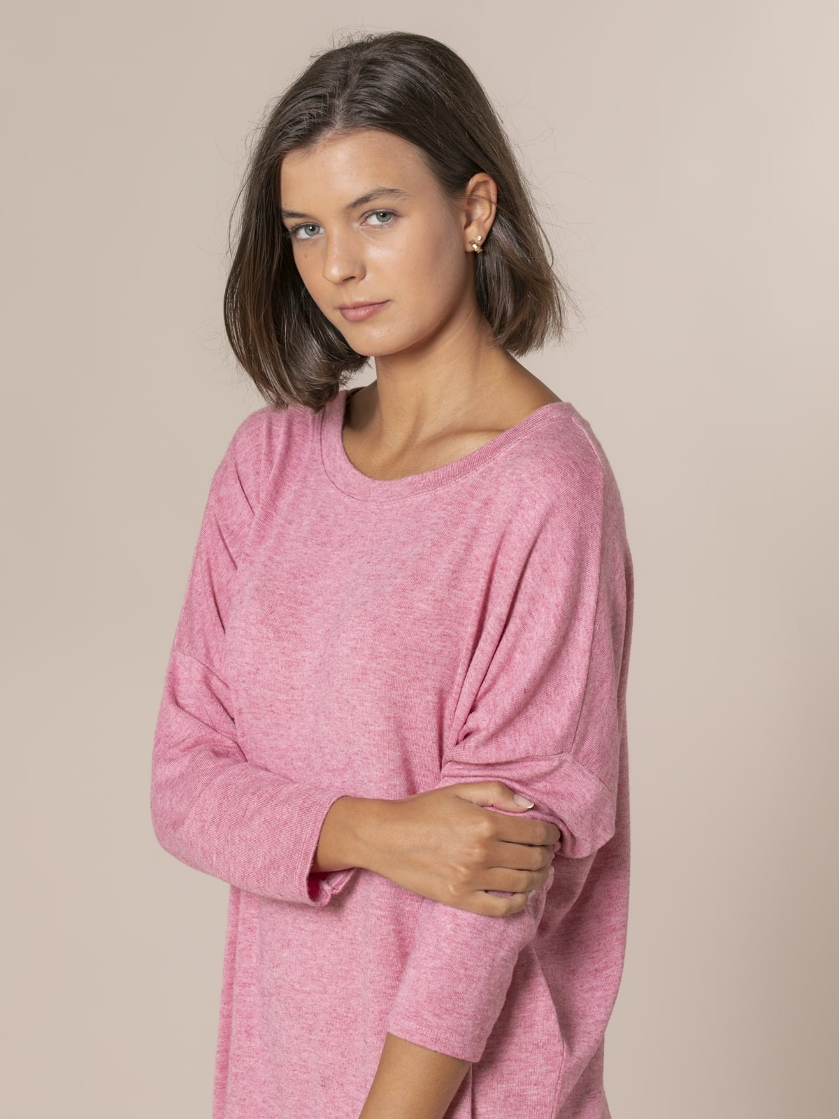 Woman Oversized boat neck sweater Pink
