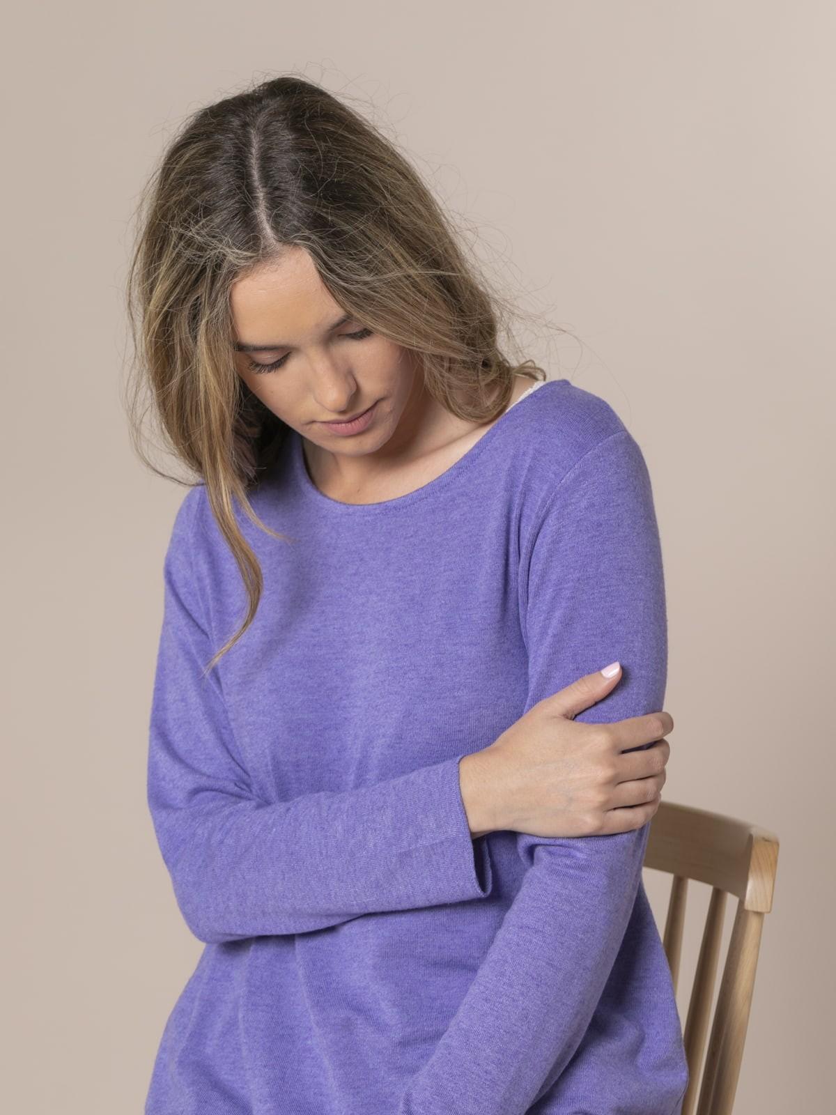 Jersey mujer punto fino cuello redondo Violeta