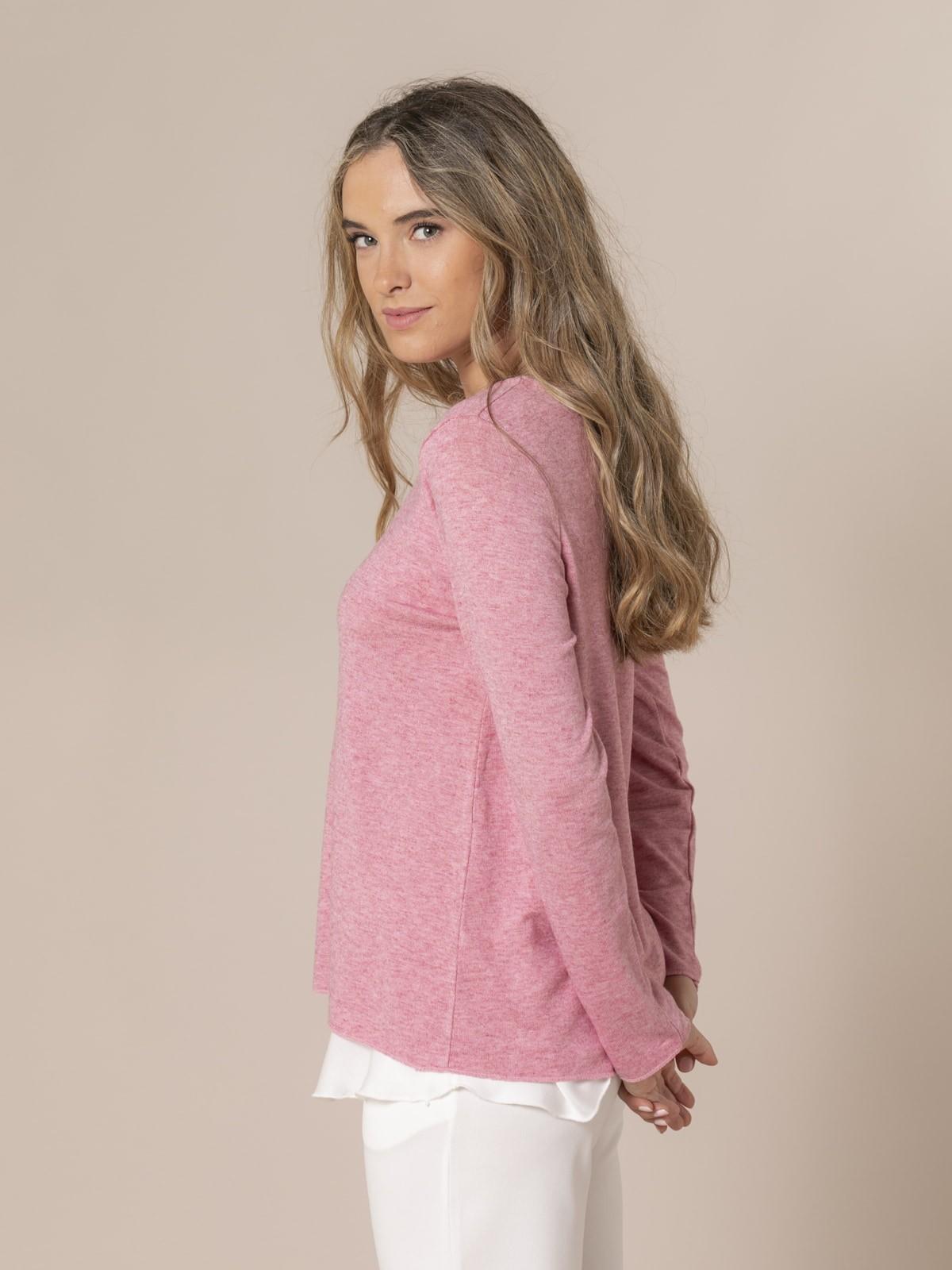 Woman Round neck fine knit sweater Pink