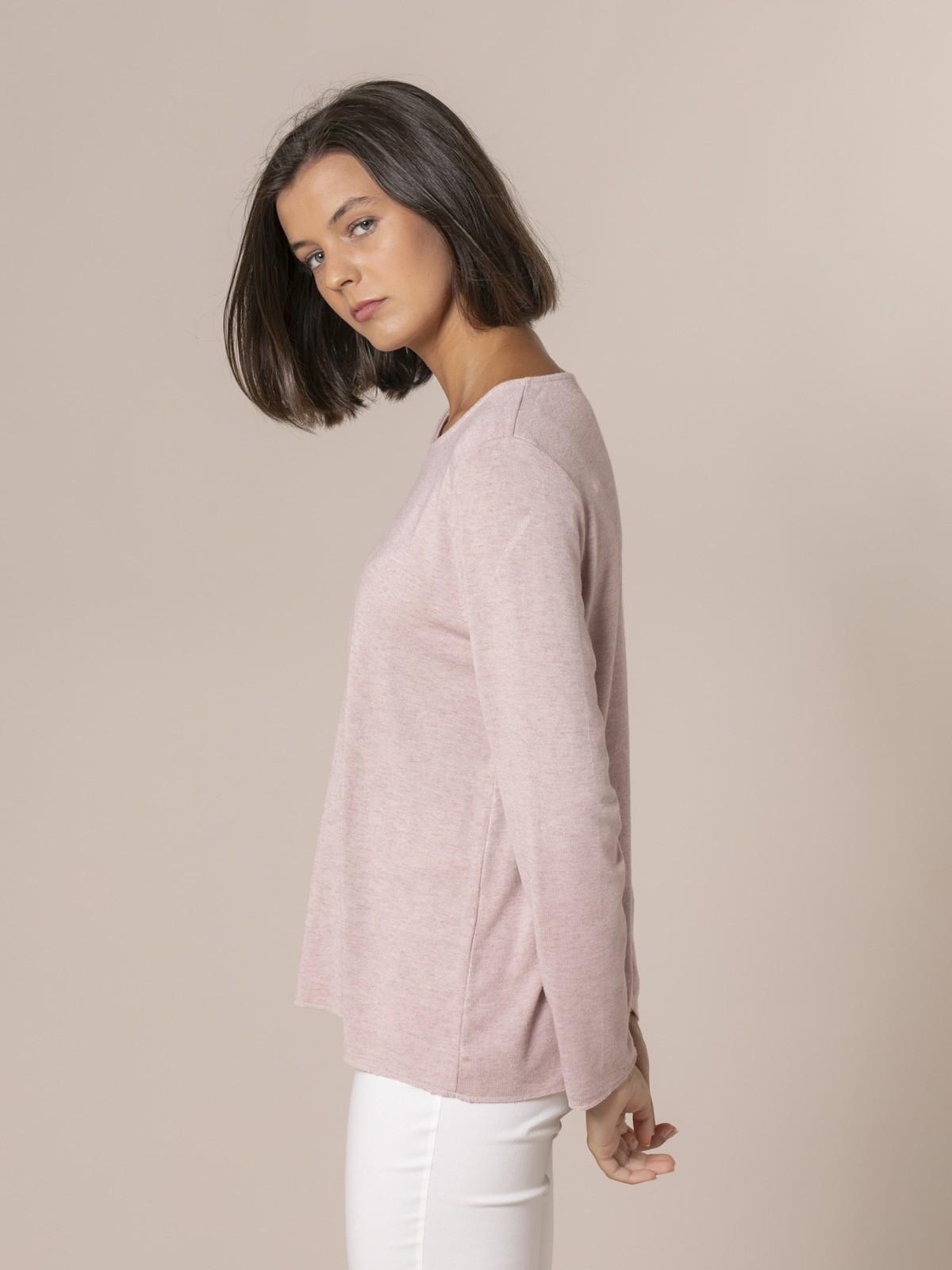 Woman Round neck fine knit sweater Pink claro