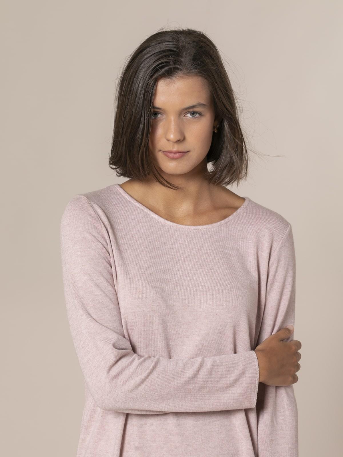 Jersey mujer punto fino cuello redondo Rosa claro