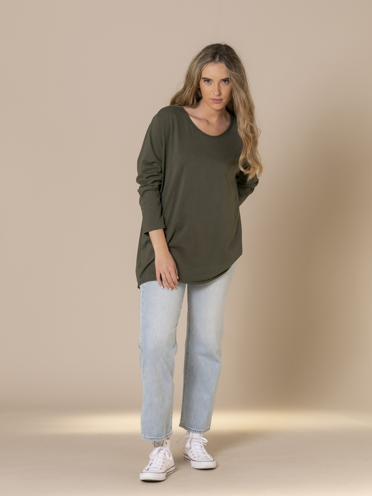 Camiseta larga mujer algodón 100% Caqui