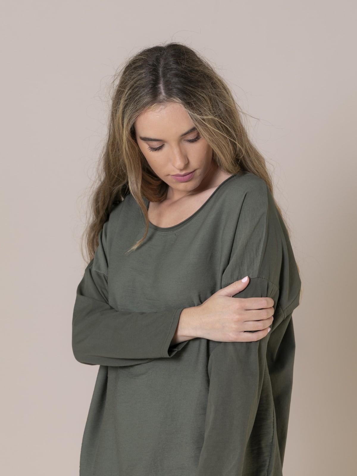 Blusa mujer cuello caja Caqui