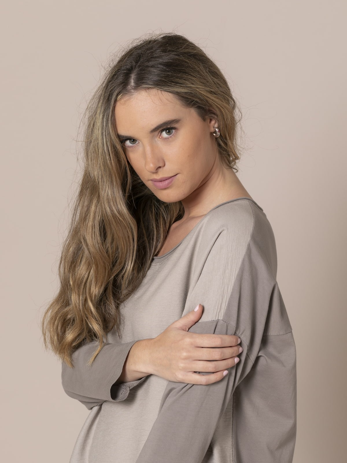 Blusa mujer cuello caja Piedra