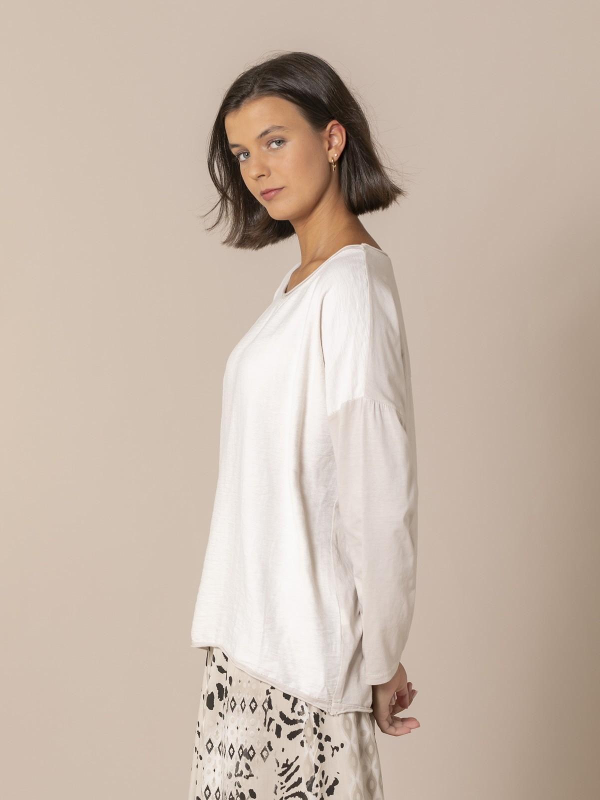 Woman Round neck blouse Beige