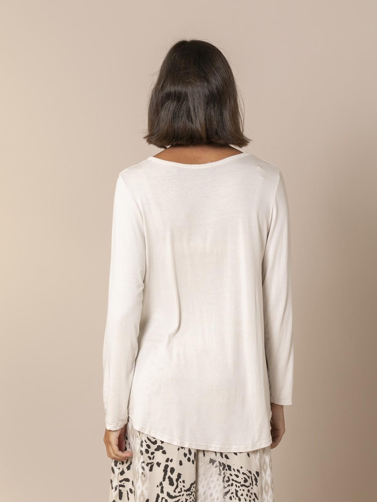 Camiseta mujer fluida manga larga Beige