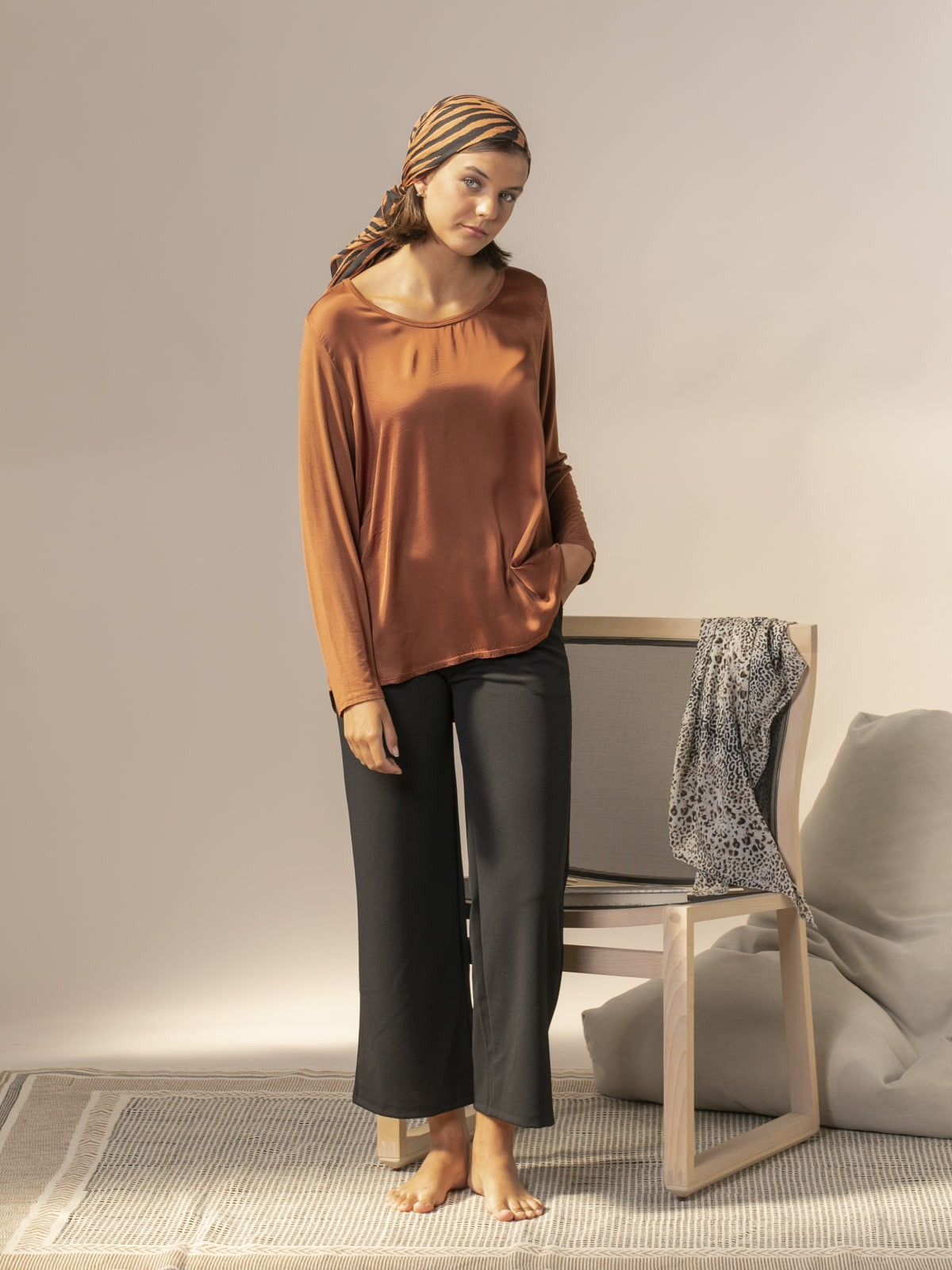 Camiseta mujer fluida manga larga Teja