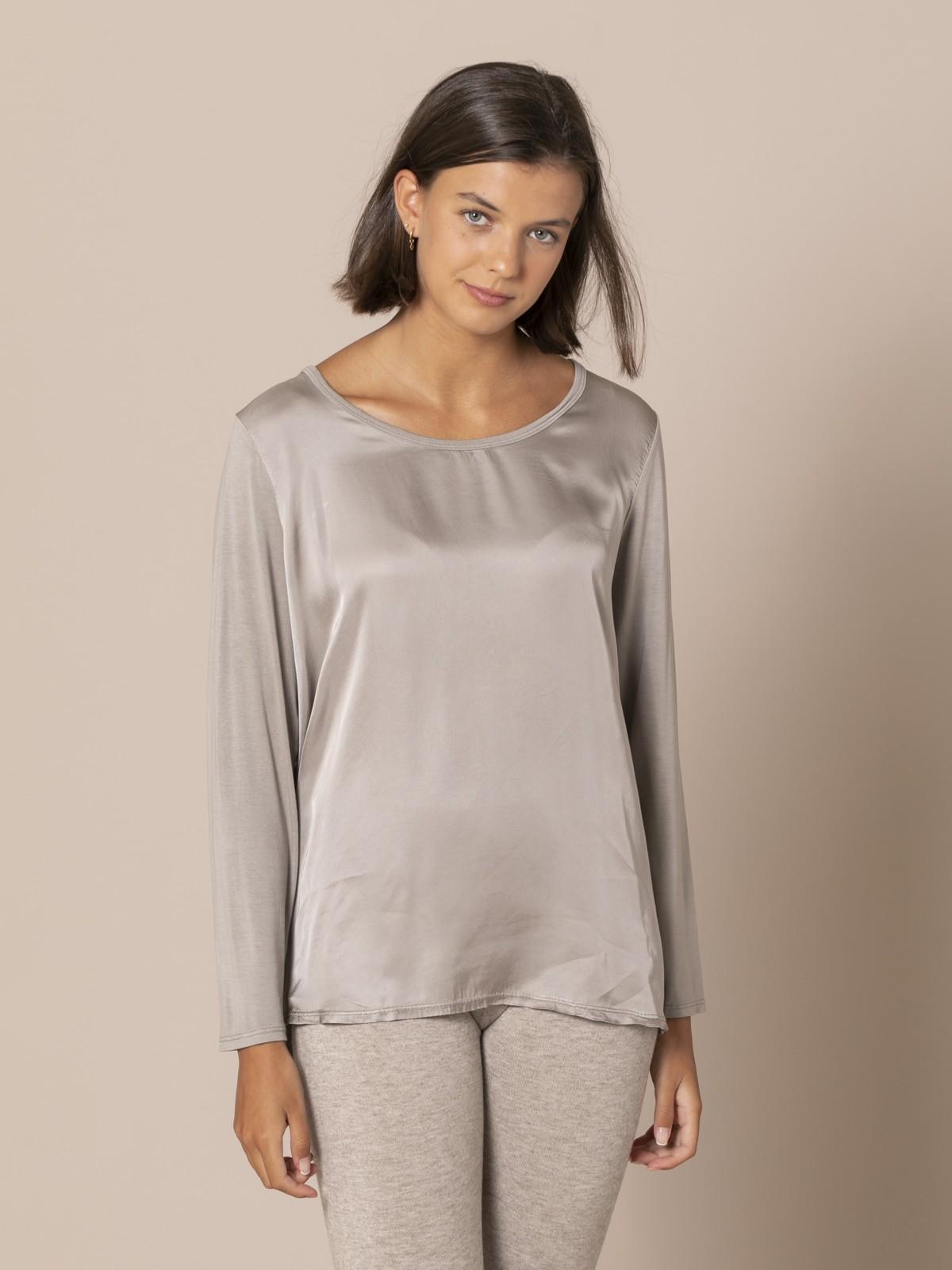 Camiseta mujer fluida manga larga Piedra