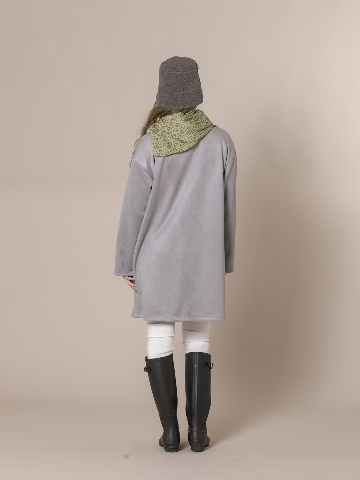 Woman Suede midi coat Grey