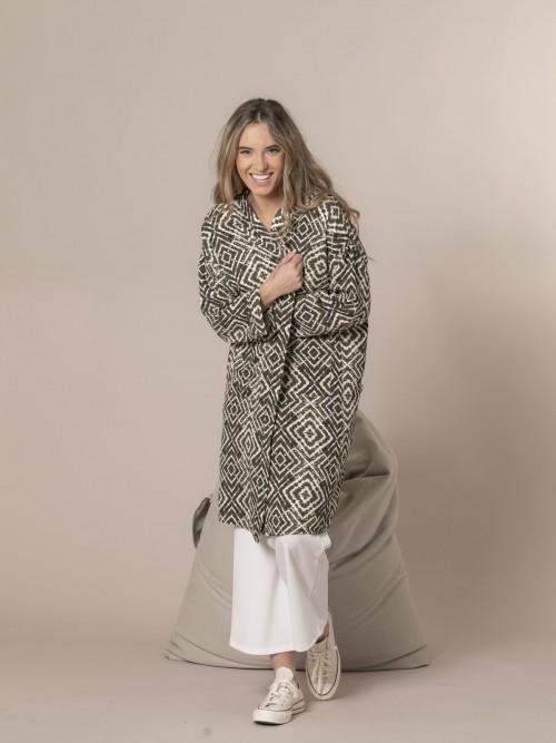 kimono estampado seventy Caqui