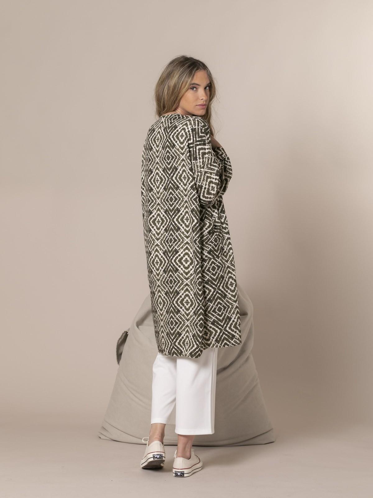Woman seventy print kimono Khaki