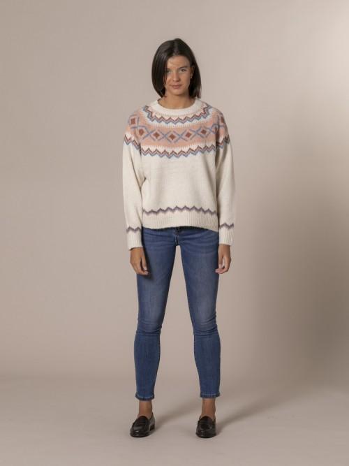 Woman Retro aprés skí sweater Crudo