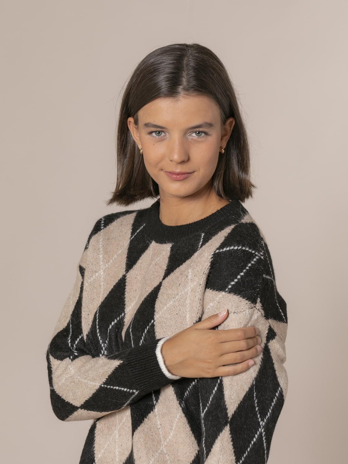 Woman Diamond detail knit sweater Black