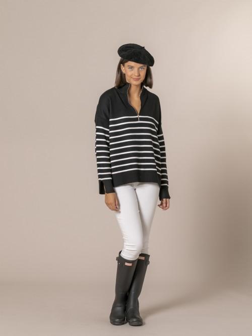 Woman Striped zip-up jumper Black