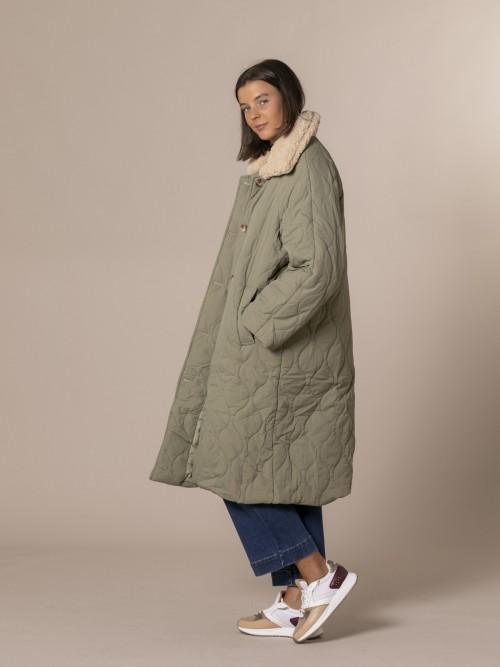 Woman Soft waterproof parka with shearling collar Green Militar
