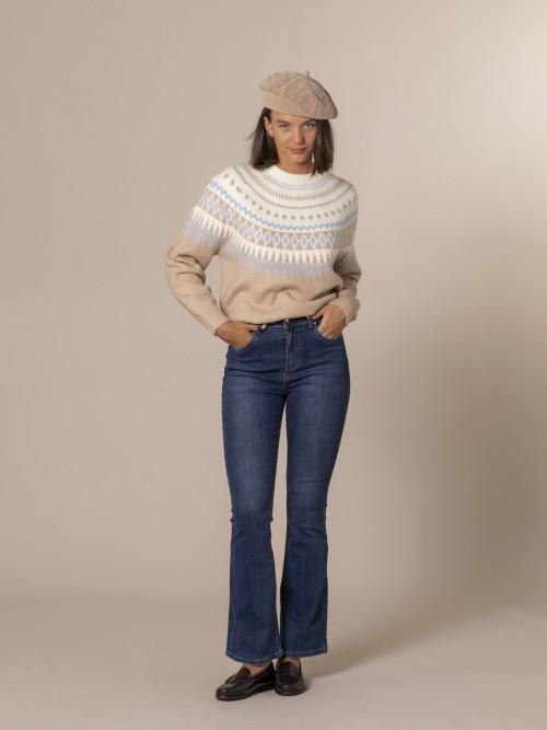 Pantalón denim mujer super high waist Azul