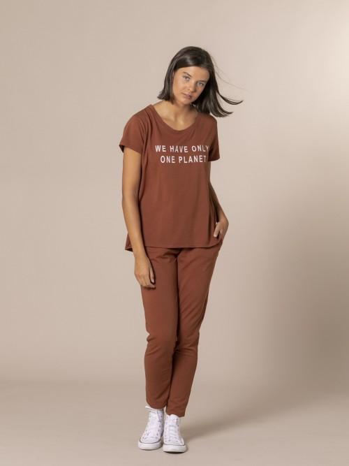 Camiseta mujer mensaje ecofriendly Teja