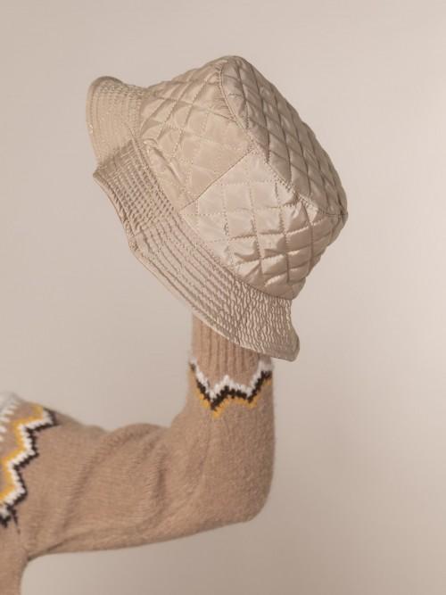 Gorro mujer acolchado impermeable Beige