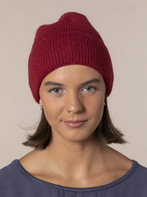 Woman Ribbed hat with turn-up Bordeaux