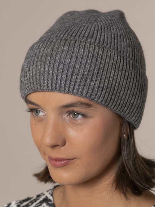 Woman Ribbed hat with turn-up Grey