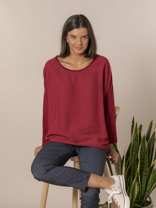 Woman Round neck blouse Red