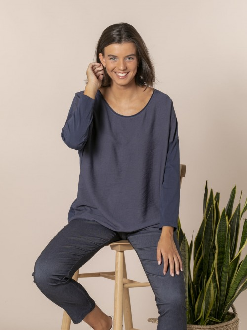 Woman Round neck blouse Blue Navy