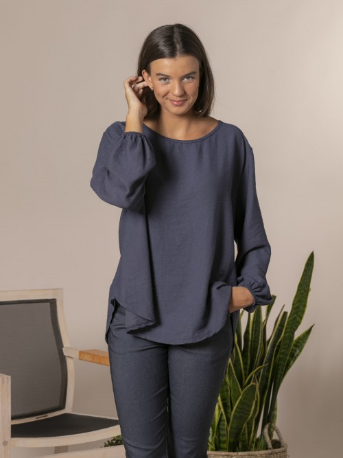 Woman Flowy blouse with elastic cuffs Blue Navy